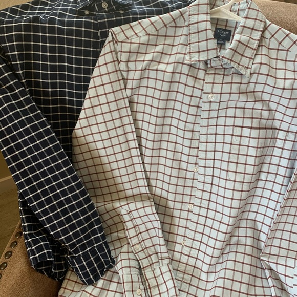 2 Two Mens J Crew Cotton Flex LS Sz MED Shirts
